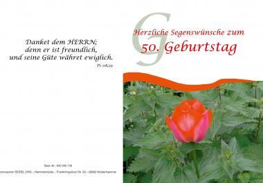 Faltkarte 50. Geburtstag - Blume