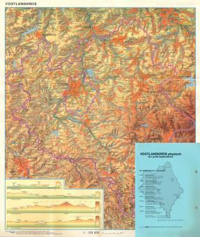 Vogtlandkreiskarte physisch, laminiert, 468 x 540 mm, M 1:125 000, Rückseite Sachsen s/w M 1:535 000