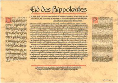 Eid des Hippokrates griechisch - deutsch - latein, Poster A3, laminiert