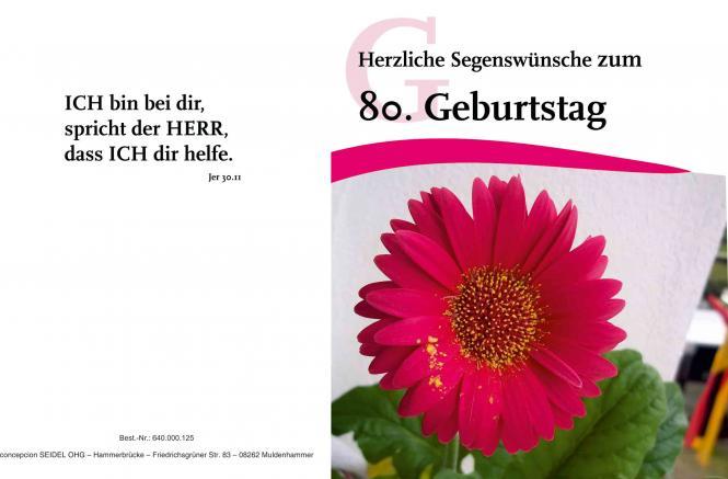 Faltkarte 80. Geburtstag - Blume