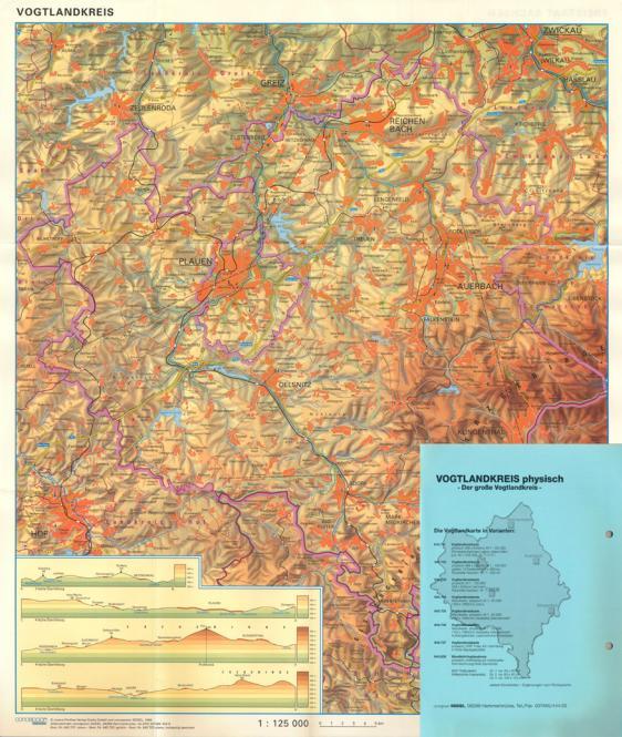 Vogtlandkreiskarte physisch, plano, 468 x 540 mm, , M 1:125 000, Rückseite Sachsen s/w M 1:535 000
