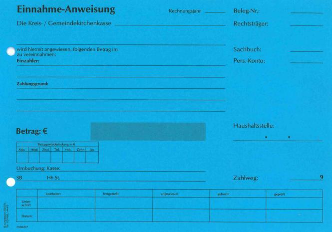 Einnahmeanweisung - blau